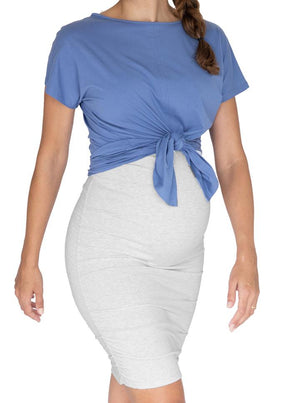 Bamboo Maternity Fitted Skirt in Marl Grey