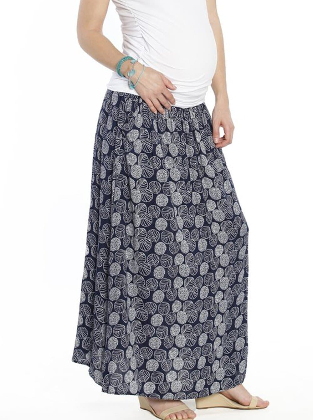 Maternity Two Way Maxi Long Skirt in Navy Leaf Print - Angel Maternity - Maternity clothes - shop online