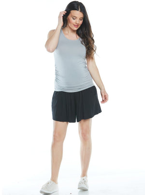 Over the Belly Maternity Culottes Shorts - Black