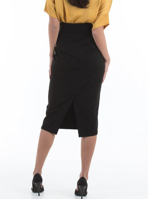 Maternity Midi Straight Cut Skirt - Black
