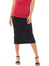 Maternity Midi Straight Cut Skirt - Black & Grey Marle Stripes
