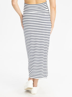 Fitted Maxi Maternity Skirt - Navy Stripes back