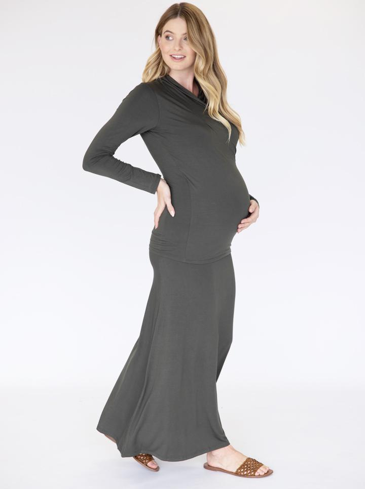 Maternity Maxi Skirt in Khaki
