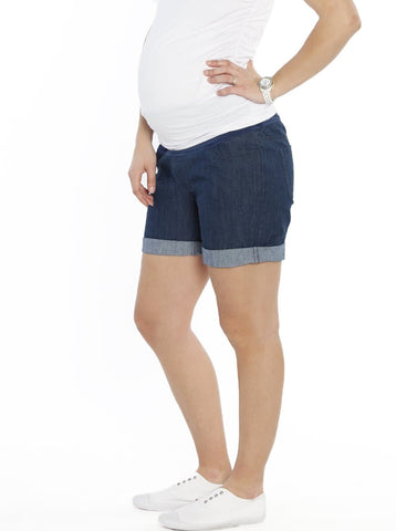 Maternity High Waist Cotton Shorts - Bottle Green