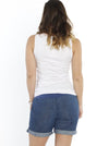 Maternity Summer Denim Short - Light Blue back
