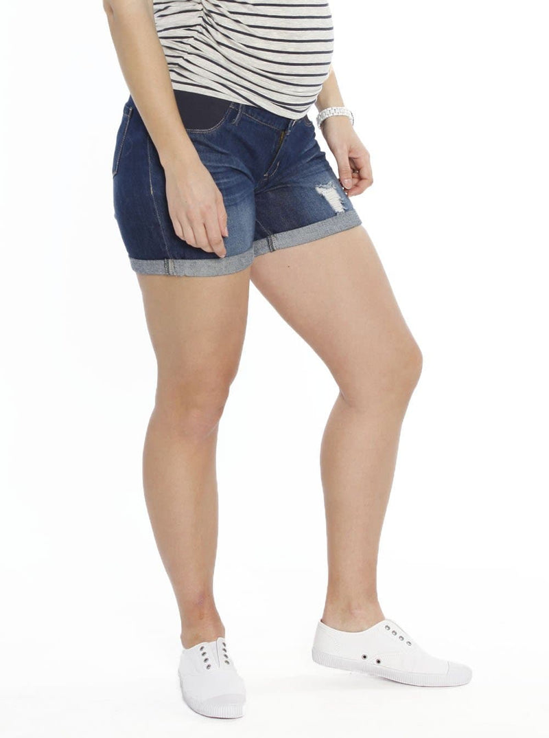 Maternity Summer Denim Shorts - Vintage Wash