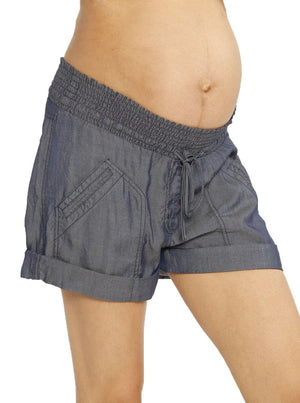 Maternity Tencel Stretchy Shorts - Navy Blue