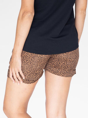 Maternity Tencel Summer Shorts in Black & Brown Print back