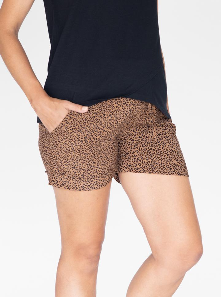 Maternity Tencel Summer Shorts in Black & Brown Print
