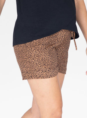 Maternity Tencel Summer Shorts in Black & Brown Print side