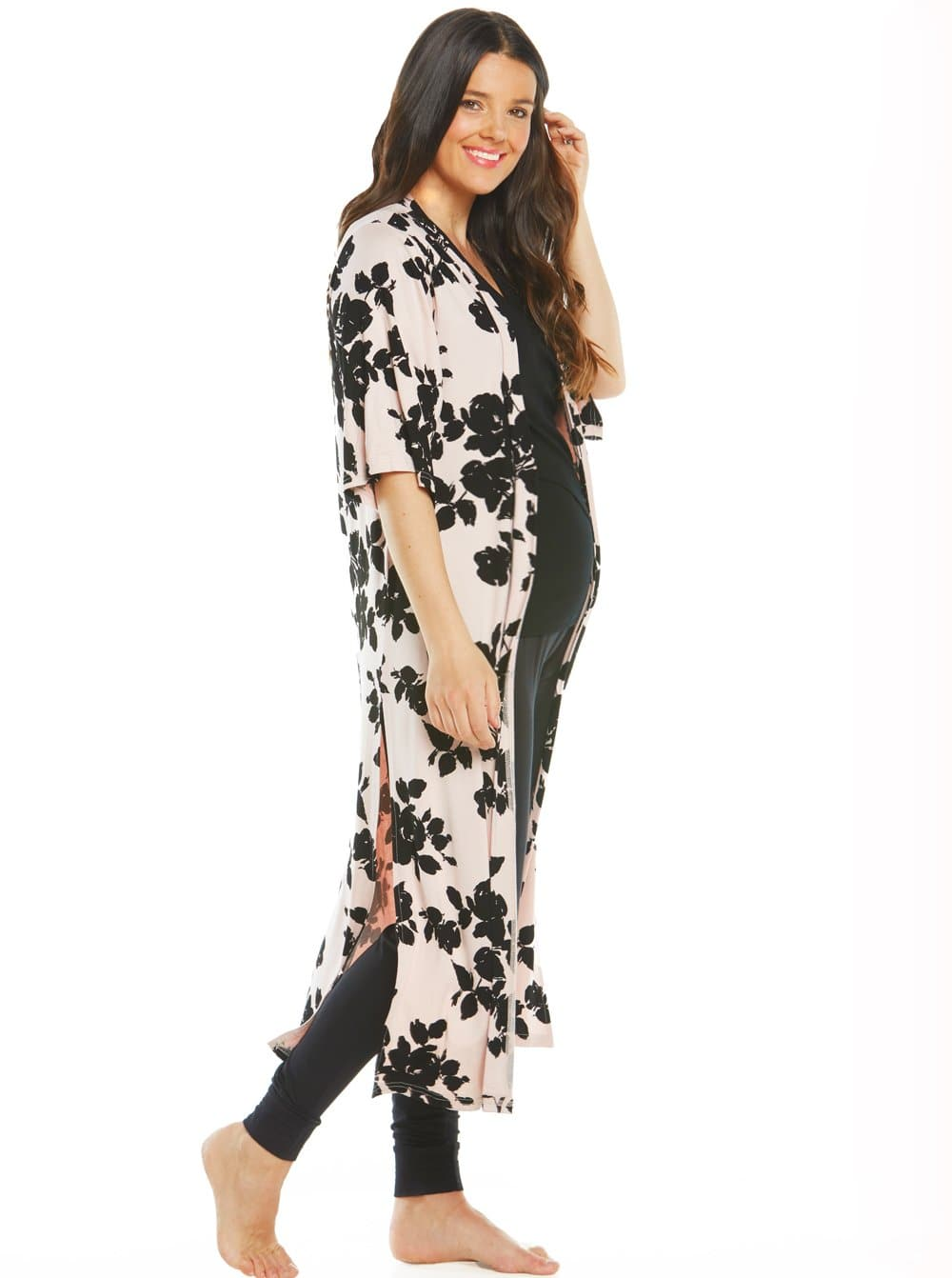 Maternity Essential Nursing 3 Piece Outfit - Black Floral