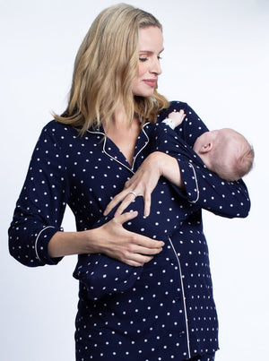 Maternity Top & Pants Pajamas Set - Navy Polkadots
