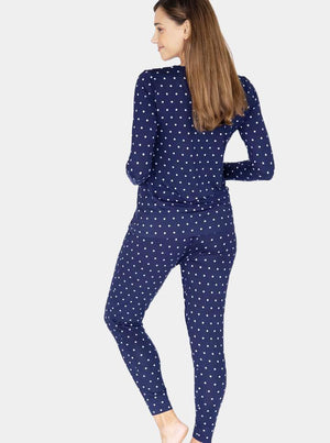 3 Piece Maternity & Nursing Lounge PJ Outfit - Navy Polkadots back