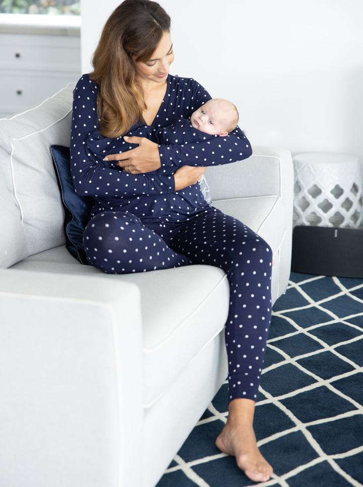 3 Piece Maternity & Nursing Lounge PJ Outfit - Navy Polkadots side