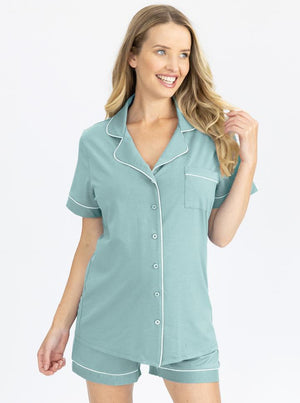 Maternity and Nursing Pyjama set in Sage main