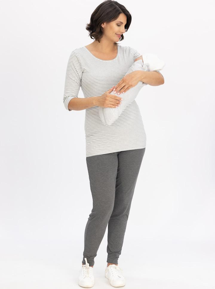 Maternity Loungewear Set with Long Sleeve Top & Bamboo Pants