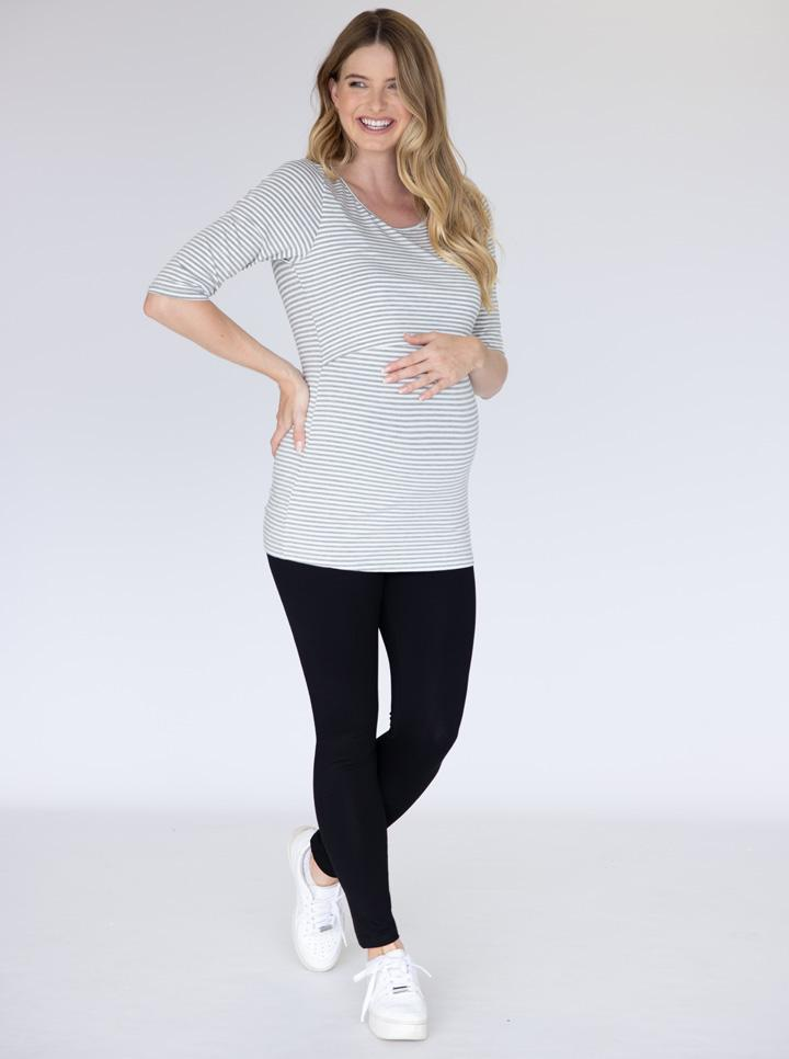 Long Sleeve Maternity & Nursing Top in Grey Stripes
