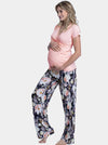 3 Piece Maternity Top & Pants Sleep Set - Floral