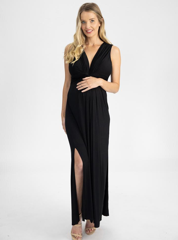 Irene Maxi Knot Front Maternity Dress - Midnight Black main