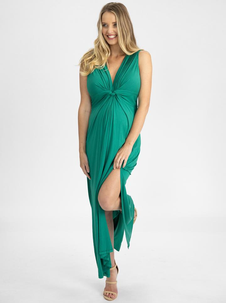Irene Maxi Knot Front Maternity Dress - Jade Green side