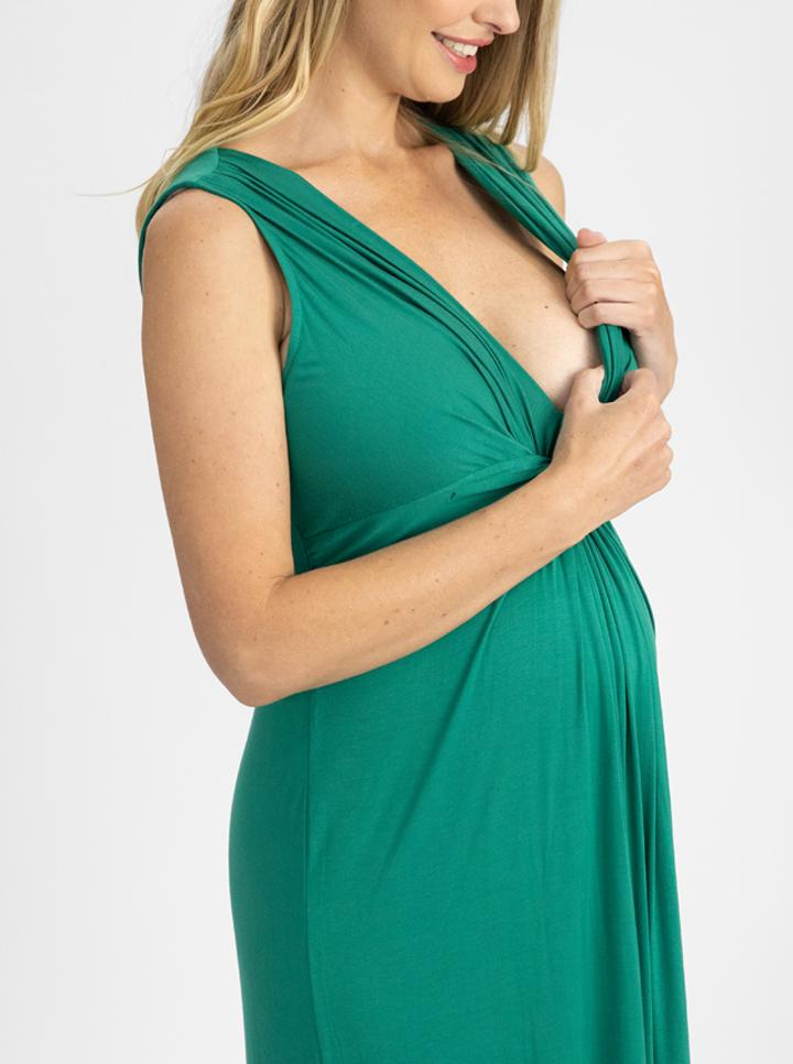 Irene Maxi Knot Front Maternity Dress - Jade Green nursing