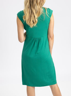 Maternity Irene Knee Length Knot Dress - Jade Green back