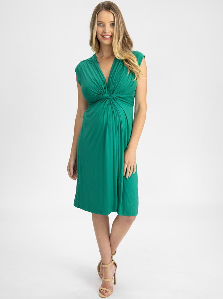 Maternity Irene Knee Length Knot Dress - Jade Green main