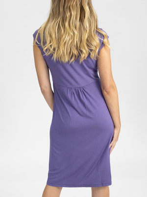 Maternity Irene Knee Length Knot Dress - Lilac back