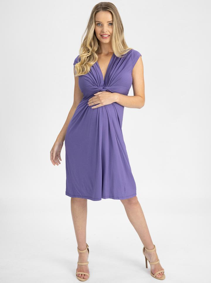Maternity Irene Knee Length Knot Dress - Lilac main