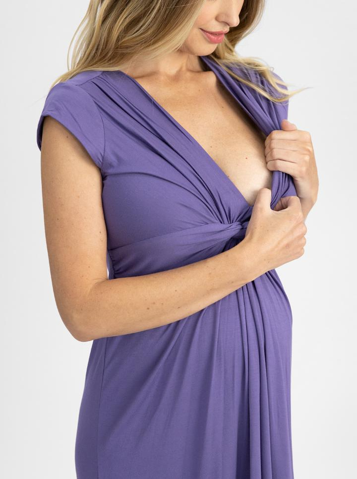 Maternity Irene Knee Length Knot Dress - Lilac nursing