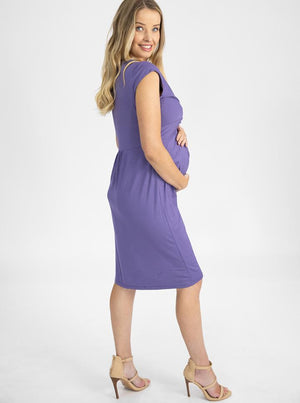 Maternity Irene Knee Length Knot Dress - Lilac side