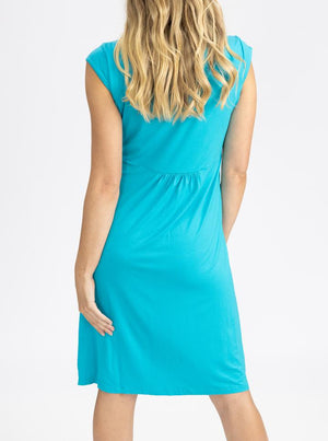 Maternity Irene Knee Length Knot Dress - Light Teal back