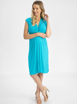 Maternity Irene Knee Length Knot Dress - Light Teal main