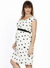 Maternity Chiffon Dress in Black & White Spots