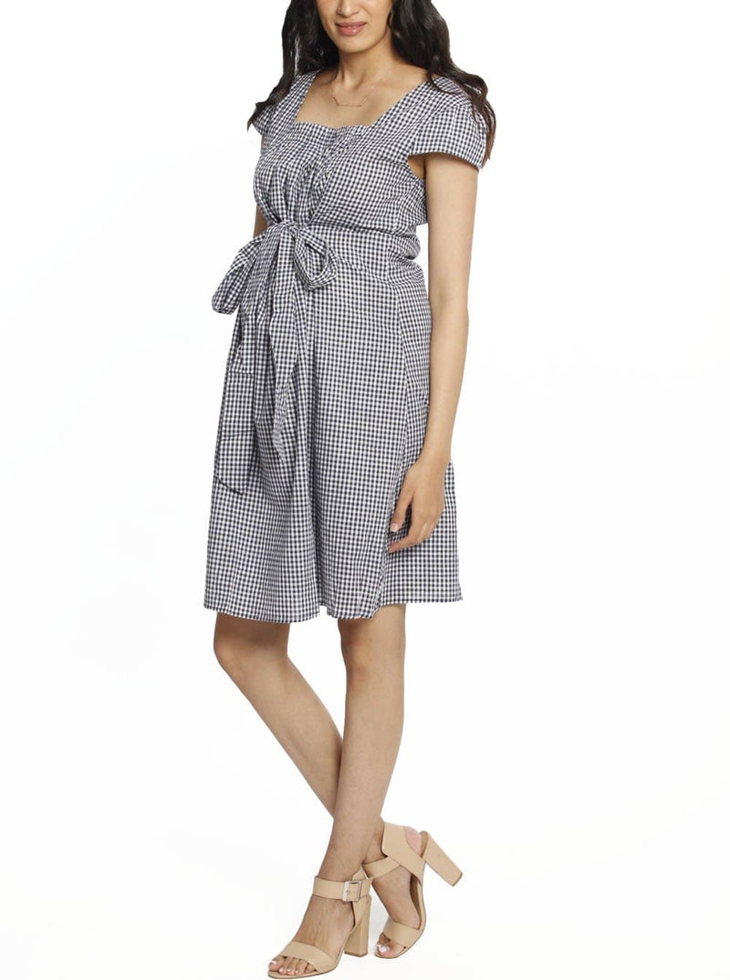 Maternity Sweet Tie Cotton Dress - Gingham Print work dress