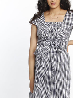 Maternity Sweet Tie Cotton Dress - Gingham Print maternity work dress
