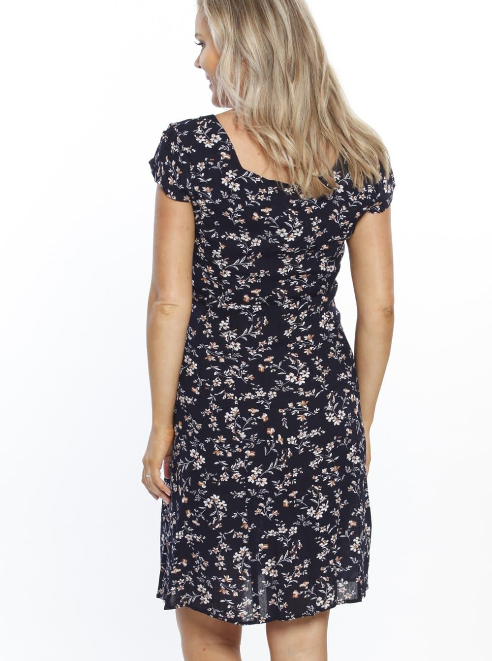 Maternity Sweet Tie Cotton Dress - Navy Floral Print