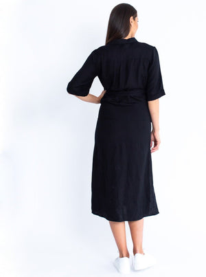 Maternity Tie Waist Linen Midi Dress - Black
