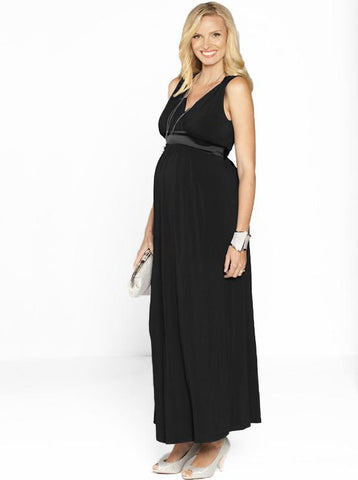 Maternity Sleeveless Ponti Party Dress - Leaf Print