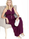 Maternity Evening Dress with easy Nursing Opening in Magenta Red