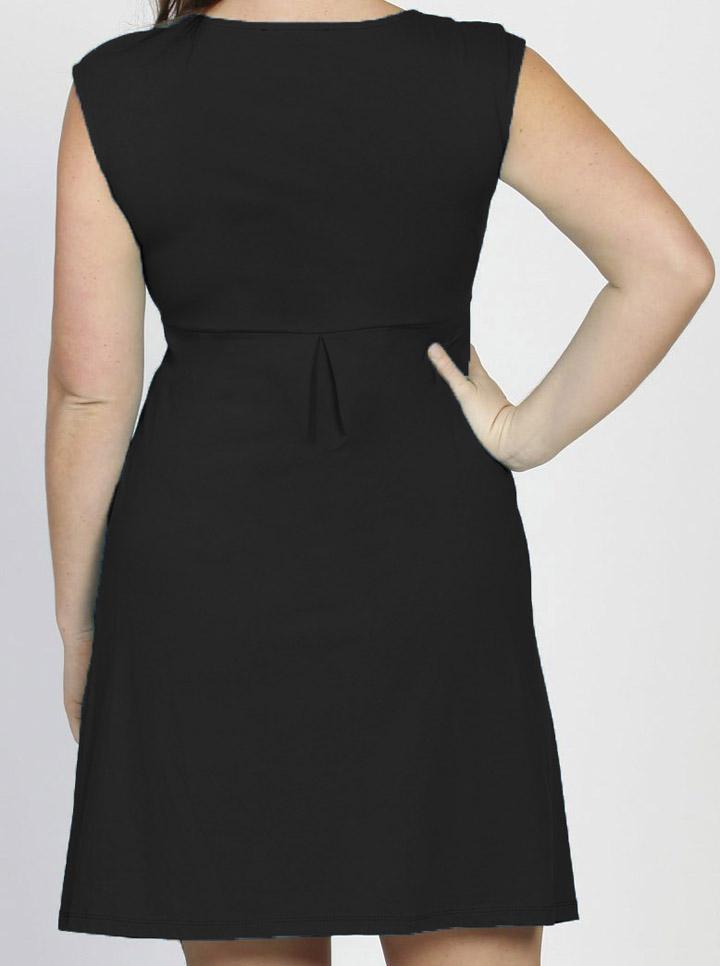 Lucy Maternity Cap Sleeve Cotton Dress in Black