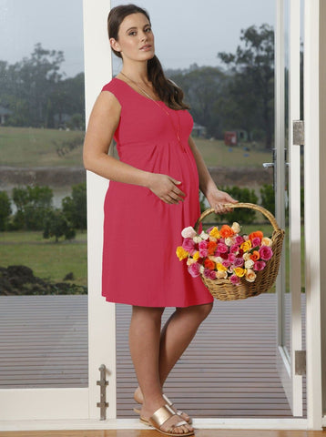 Maternity Sleeveless Ponti Party Dress - Grey and White Print