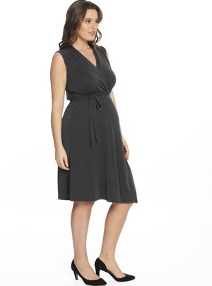 Maternity Classic Wrap Sleeveless Dress in Dark Grey