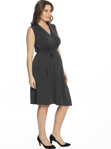 Maternity Straight Cut Ponti Work Skirt in Navy