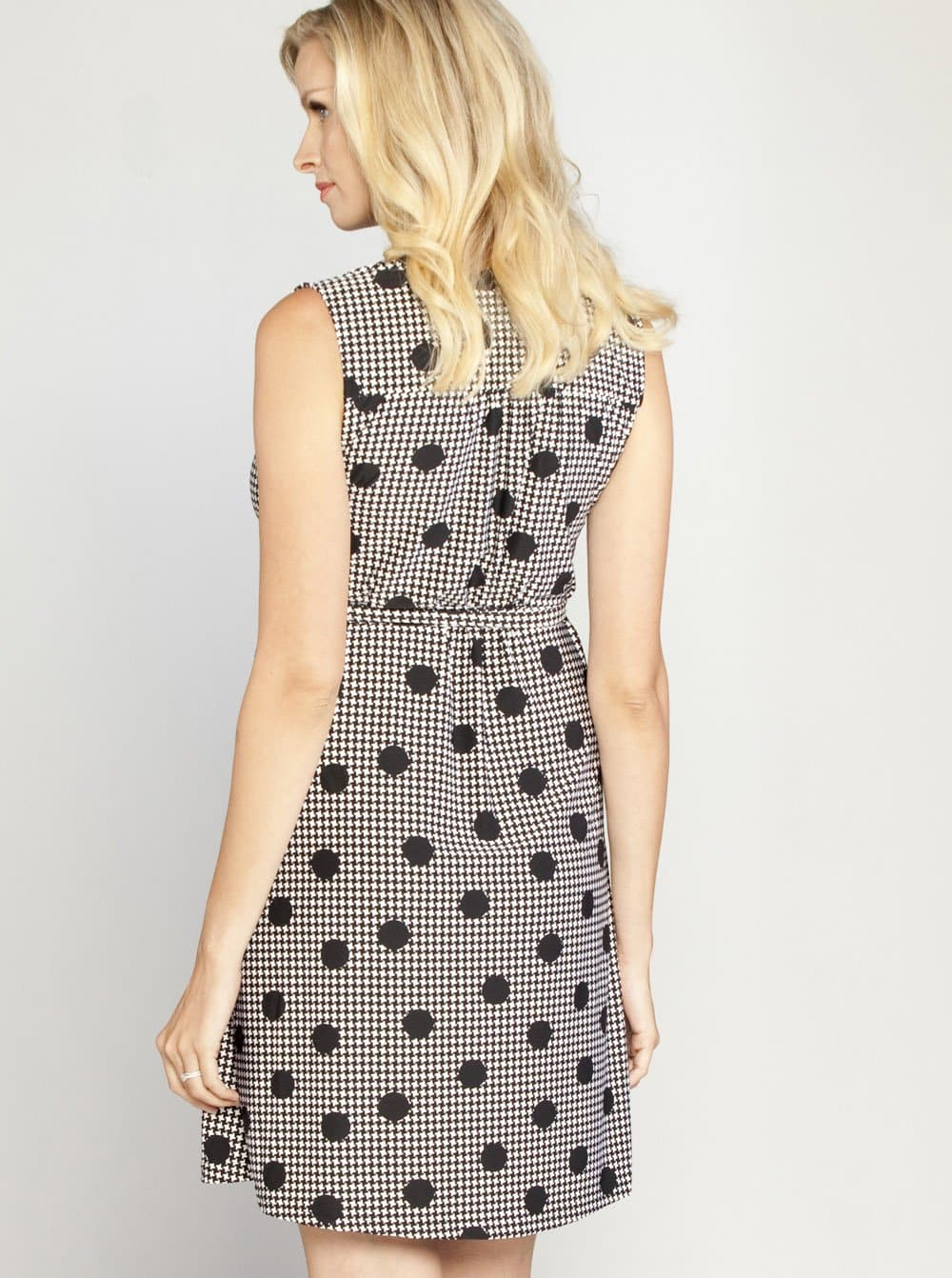 Maternity Classic Sleeveless Wrap Nursing Dress - Houndstooth Print - Angel Maternity - Maternity clothes - shop online