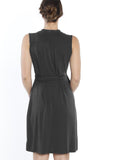 Maternity Classic Wrap Sleeveless Dress in Dark Grey - Angel Maternity - Maternity clothes - shop online