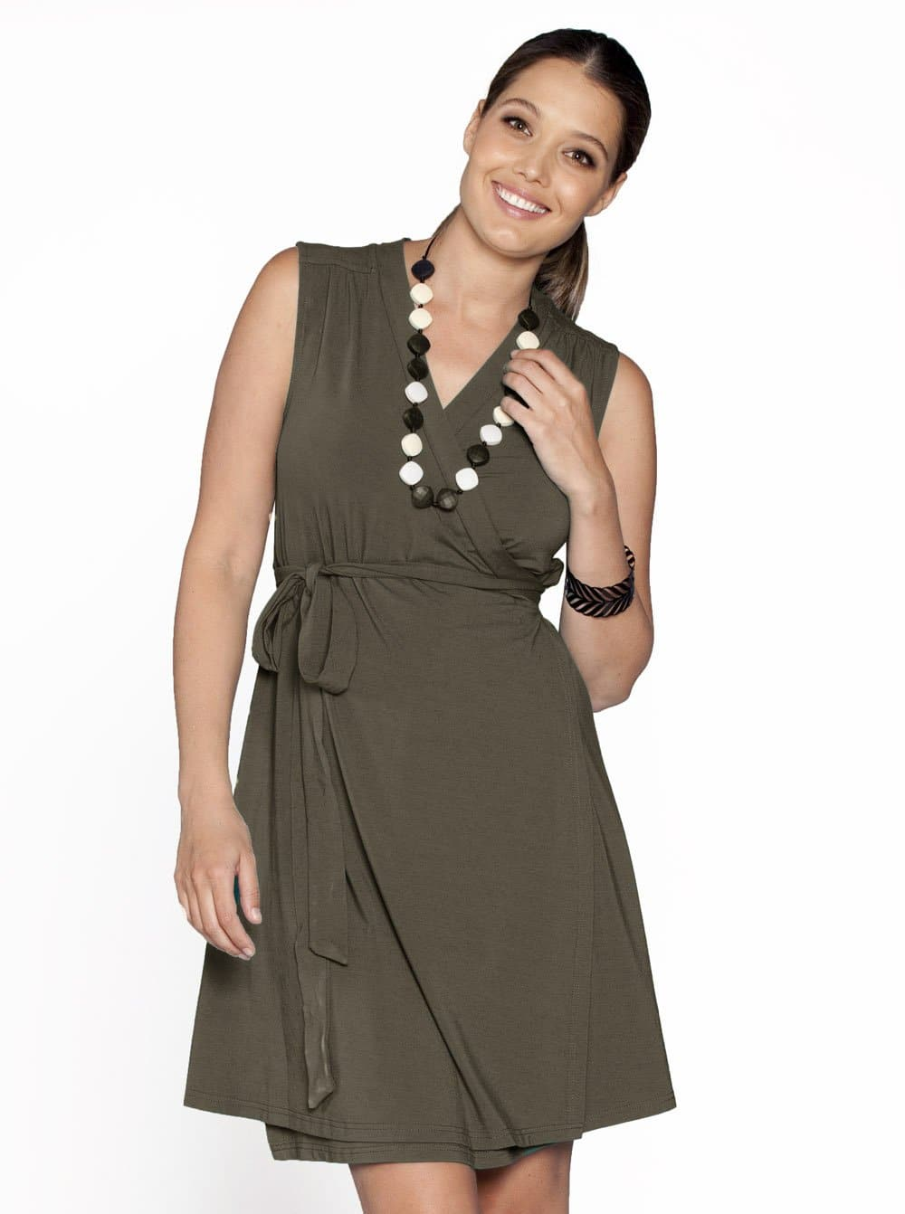 Maternity Classic Wrap Breastfeeding Dress in Khaki - Angel Maternity - Maternity clothes - shop online