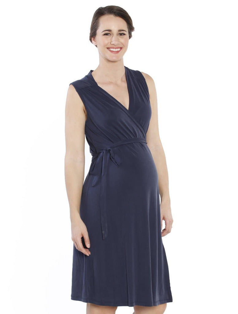 Maternity Classic Wrap Breastfeeding Dress in Navy - Angel Maternity - Maternity clothes - shop online