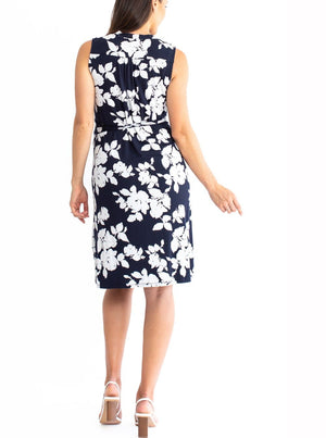 Maternity Wrap Dress in Navy & White Flowers