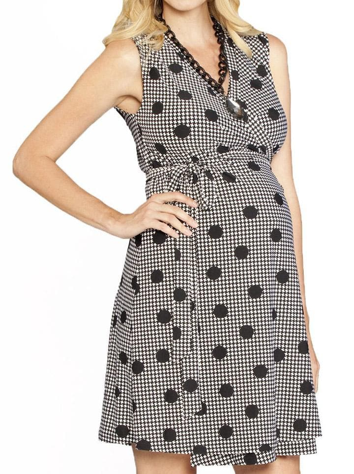 Maternity Classic Sleeveless Wrap Nursing Dress - Houndstooth Print